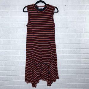 A.L.C. Striped Flutter Hem Dress Navy Blue Orange